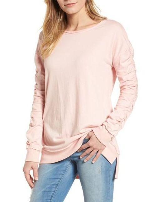 Caslon - Pink Caslon Scrunch Sleeve Sweatshirt - Lyst