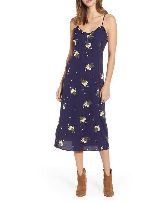 5db5bdeac1 Women's Blue Ruffle Trim Floral Print Midi Dress