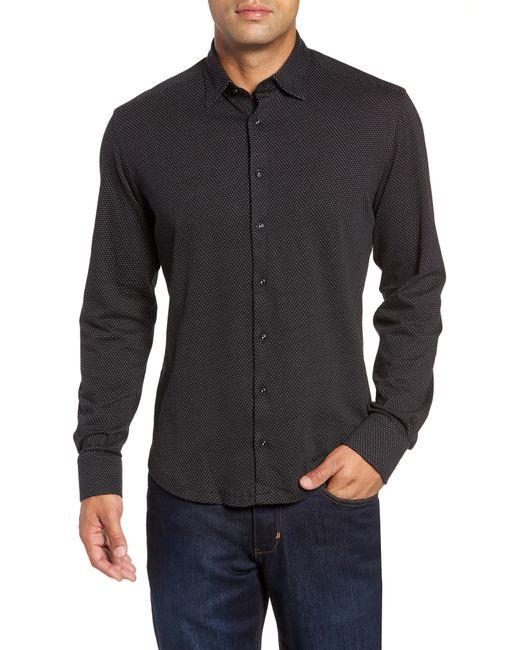 Stone Rose - Black Trim Fit Bird's Eye Sport Shirt for Men - Lyst