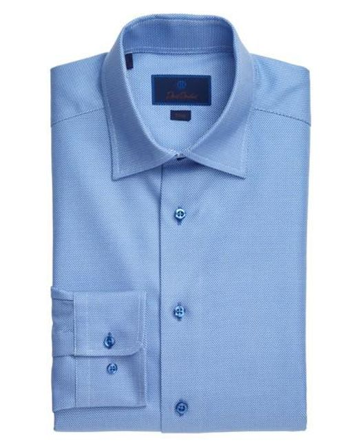 David Donahue | Blue Slim Fit Solid Dress Shirt for Men | Lyst