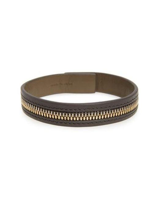 Want Les Essentiels De La Vie | Brown 'tambo' Zip Leather Bracelet | Lyst