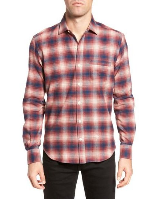Culturata | Red Ombre Plaid Flannel Sport Shirt for Men | Lyst