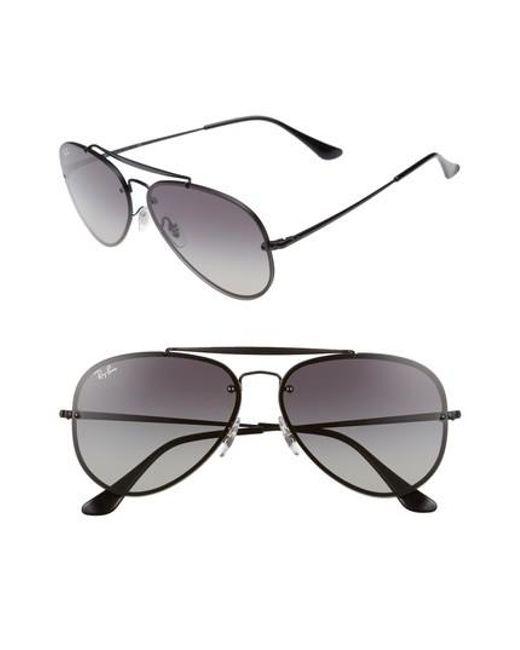 Ray-Ban | 61mm Gradient Lens Aviator Sunglasses - Shiny Black | Lyst