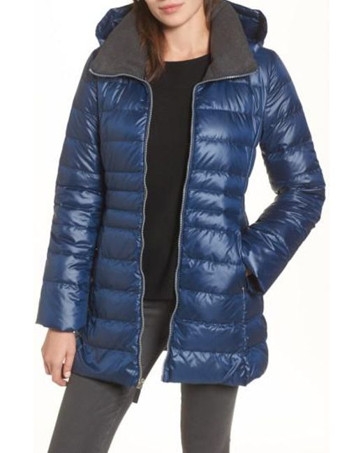 Andrew Marc | Blue Erin Hooded Down Coat | Lyst