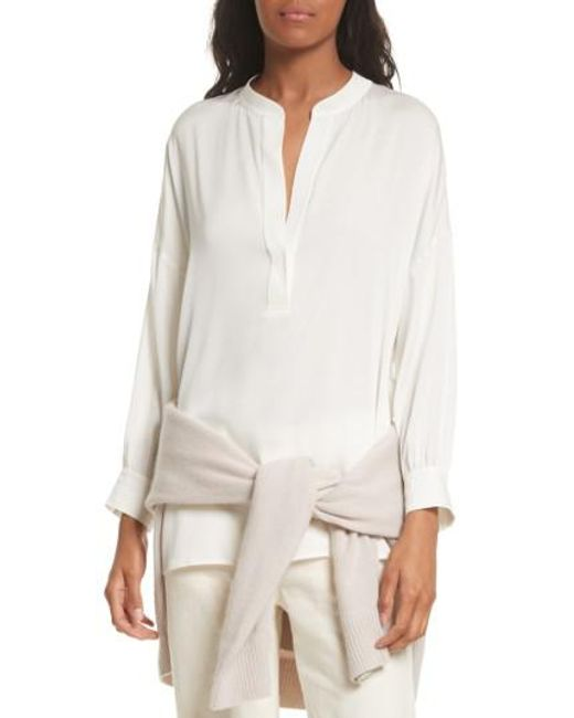Vince | White Shirred Stretch Silk Blouse | Lyst