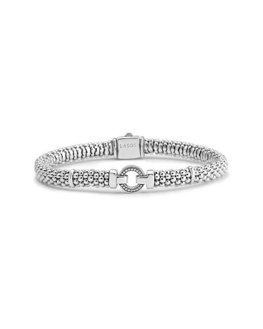 Lagos - Metallic Enso Boxed Circle Station Caviar Rope Bracelet - Lyst