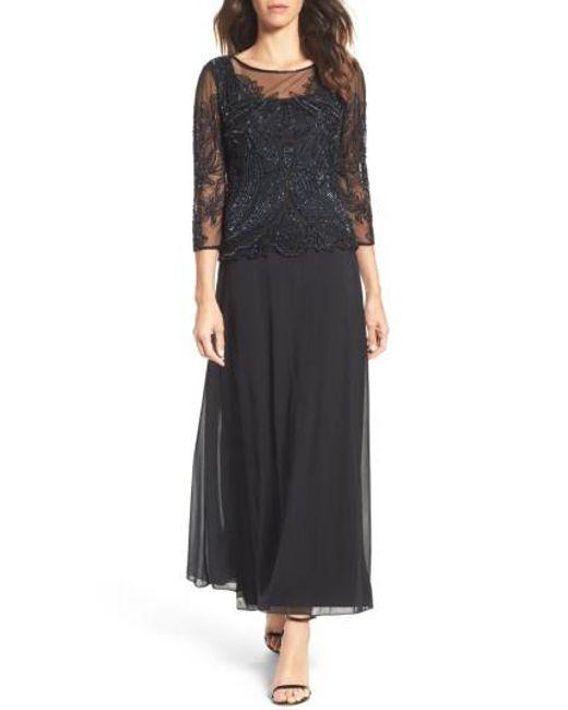 Pisarro Nights | Black Embellished Mesh Gown | Lyst