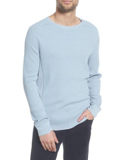 Vince - Blue Regular Fit Waffle Knit Cotton Blend Crewneck T-shirt for Men - Lyst