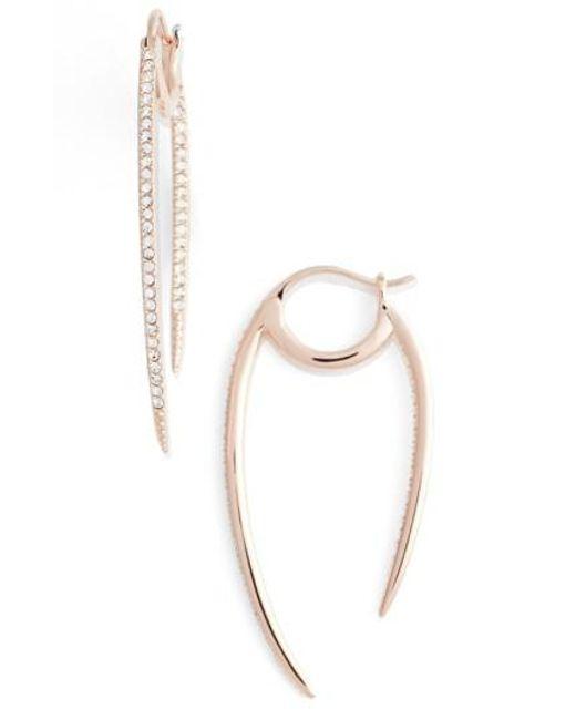 Nadri | Metallic 'crescent' Linear Hoop Earrings | Lyst