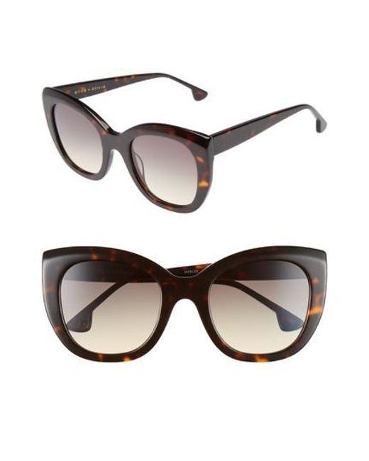 Alice + Olivia | Brown Mercer 52mm Cat Eye Sunglasses - Dark Tortoise | Lyst