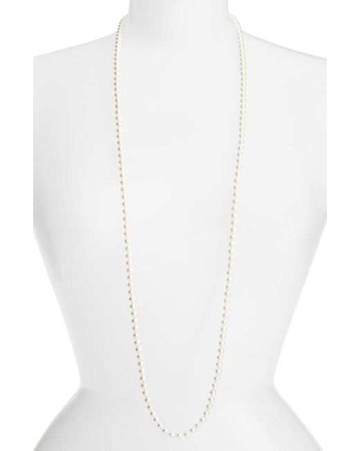 Nadri - White Simulated Pearl Long Necklace - Lyst