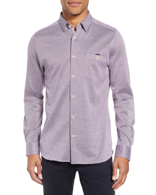 Ted Baker - Purple Timothy Slim Fit Cotton Jersey Shirt for Men - Lyst