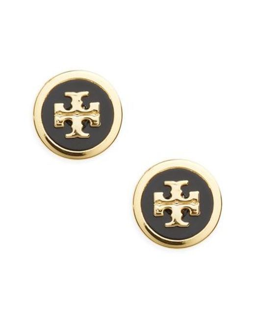 Tory Burch - Metallic Logo Stud Earrings - Lyst