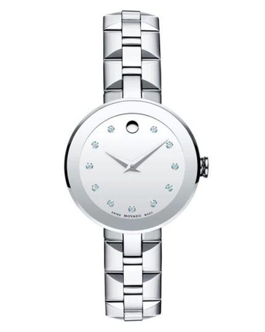 Movado | Metallic 'sapphire' Diamond Index Bracelet Watch | Lyst