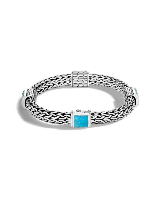 John Hardy - Metallic Classic Silver & Turquoise Chain Bracelet - Lyst