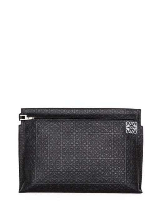 Loewe | Black Large Logo Embossed Calfskin Leather Pouch | Lyst