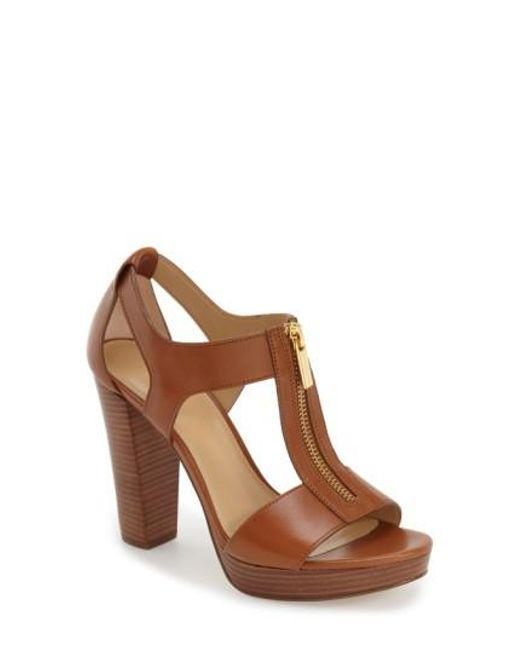 MICHAEL Michael Kors - Brown 'berkley' T-strap Sandal - Lyst