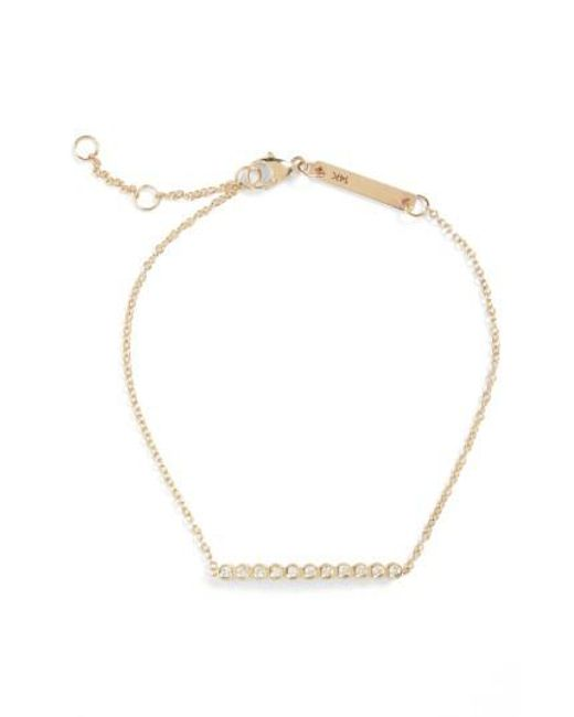 Zoe Chicco - Metallic Diamond Bar Bracelet - Lyst