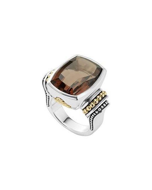 Lagos - Metallic 'caviar Color' Large Semiprecious Stone Ring - Lyst