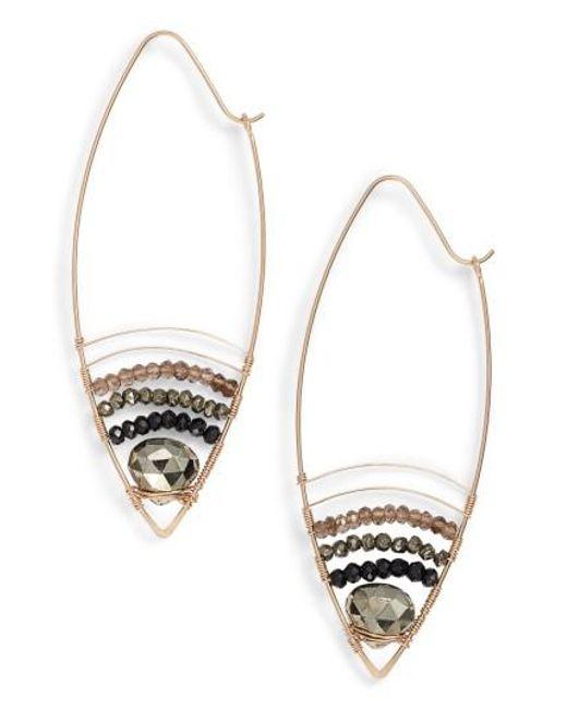 Nashelle | Metallic Cabana Golden Sand Oblong Hoop Earrings | Lyst