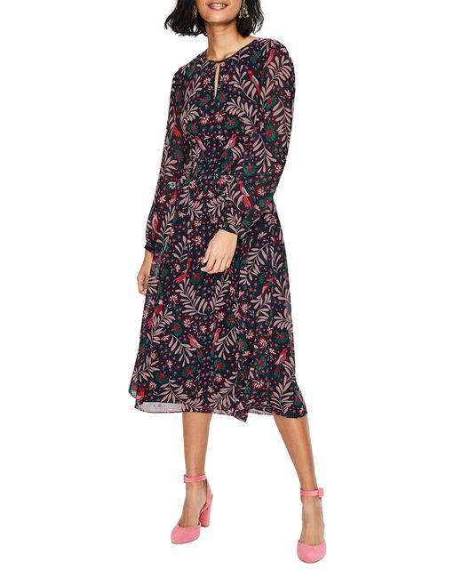 15d065f23eb8 Lyst - Boden Ada Floral Long Sleeve Midi Dress in Blue