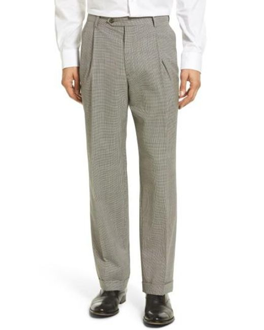 Berle - Gray Pleated Houndstooth Wool Trousers for Men - Lyst