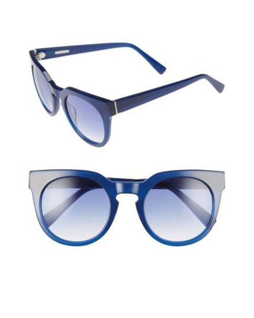 Derek Lam | Blue 'stella' 51mm Round Sunglasses - Ink | Lyst