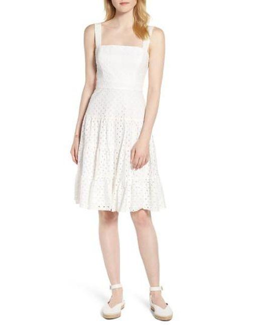 Nordstrom - White 1901 Eyelet Fit & Flare Dress - Lyst