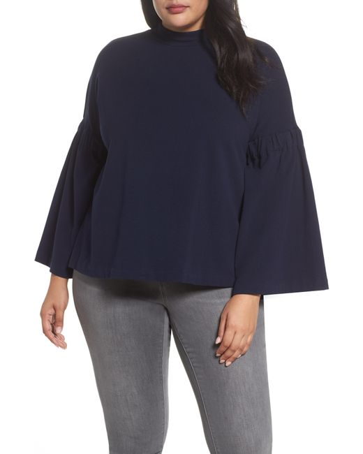 Two By Vince Camuto - Gray Bell Sleeve Top - Lyst