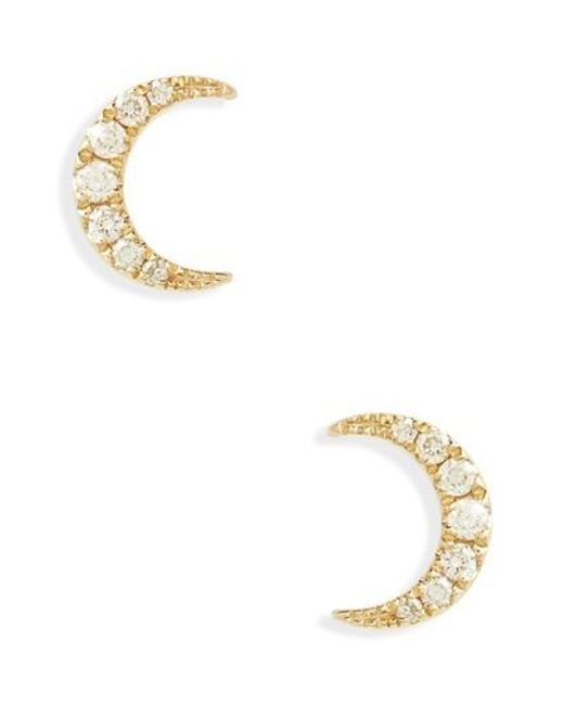 EF Collection - Metallic Mini Moon Diamond Stud Earrings - Lyst