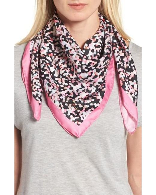 Kate Spade   Pink Gifting Bubbles Square Silk Scarf   Lyst