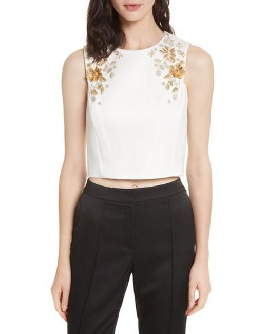 Ted Baker | White Embellished Bee Sleeveless Crop Top | Lyst