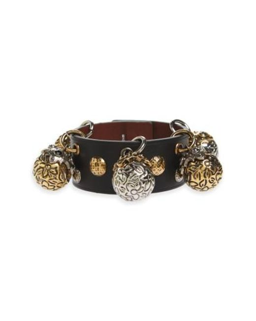 Alexander McQueen | Black Metallic Sphere Leather Bracelet | Lyst