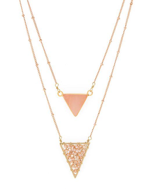 Panacea - Metallic Triangle Double Strand Necklace - Lyst