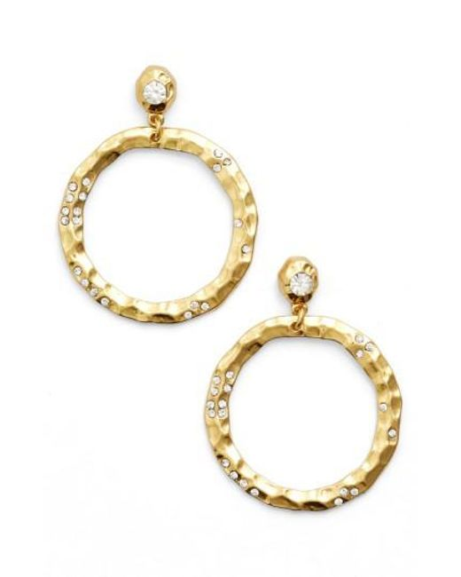 Karine Sultan | Metallic Jewely Cubic Zirconia Frontal Hoop Earrings | Lyst