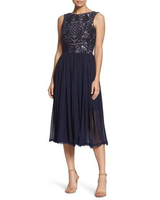 Dress the Population - Blue Cathy Sequin Tea Length Dress - Lyst
