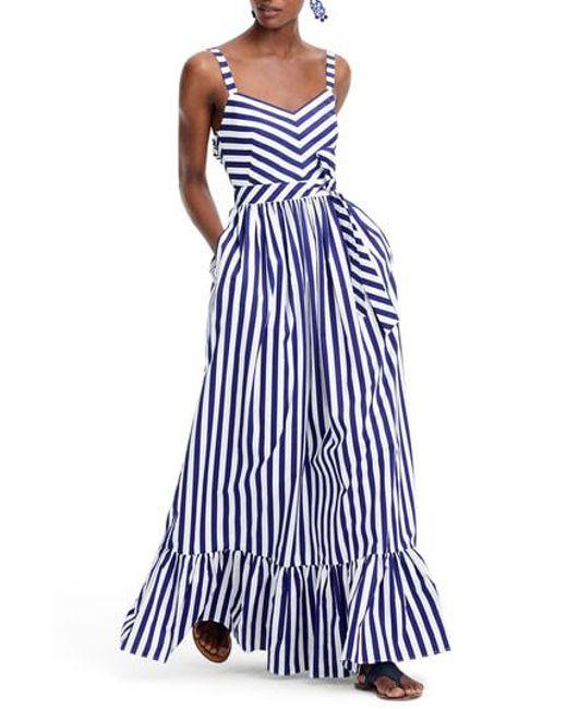 J.Crew - Blue Stripe Ruffle Maxi Dress - Lyst