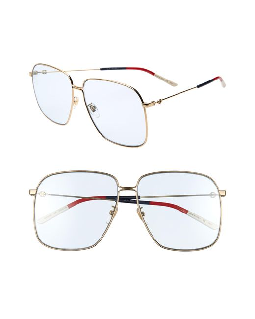 4eb2a431a06fd9 Gucci - Metallic 61mm Square Sunglasses - Lyst ...