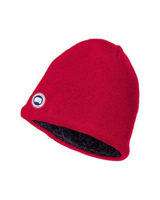 Canada Goose | Red Merino Wool Beanie for Men | Lyst