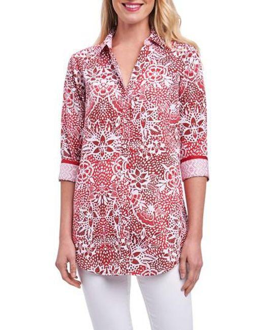 Foxcroft - Red Faith Batik Floral Shirt - Lyst