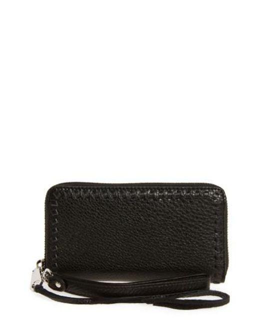 Rebecca Minkoff | Black Vanity Leather Phone Wallet | Lyst
