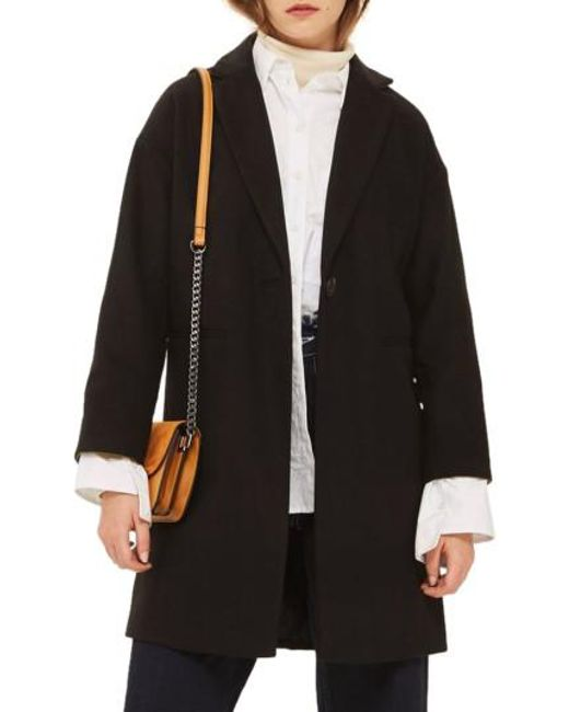 TOPSHOP   Black Millie Relaxed Fit Coat   Lyst