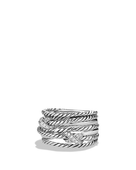 David Yurman - Metallic Double 'x Crossover' Ring With Diamonds - Lyst