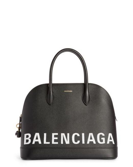 Balenciaga - Black Ville Logo Leather Satchel - Lyst