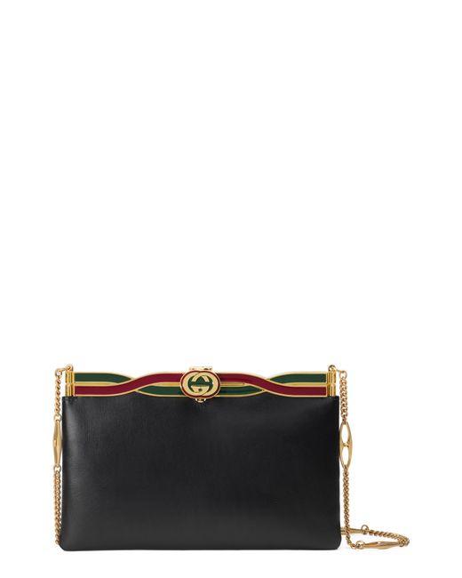 Lyst - Gucci Broadway Logo Frame Leather Shoulder Bag in Black 1f9873907242a