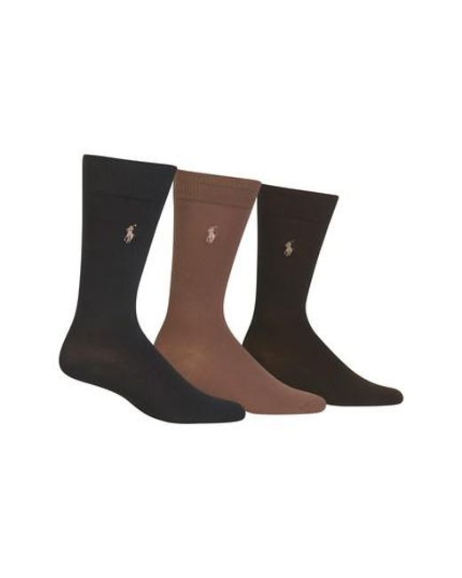 Polo Ralph Lauren - Green Assorted 3-pack Supersoft Socks, Brown for Men - Lyst