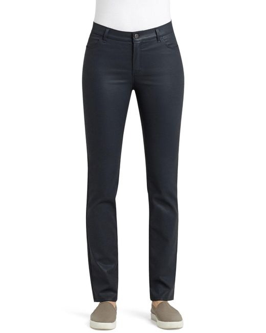 Lafayette 148 New York - Blue Waxed Denim Slim Leg Jeans - Lyst