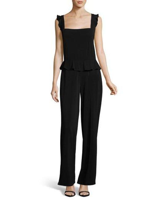 Eci - Black Sleeveless Ruffle Jumpsuit - Lyst