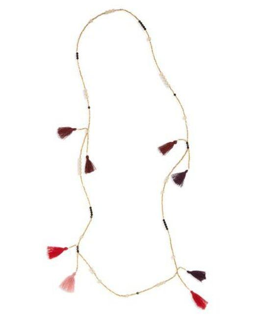 Panacea   Metallic Tassel Bead Necklace   Lyst