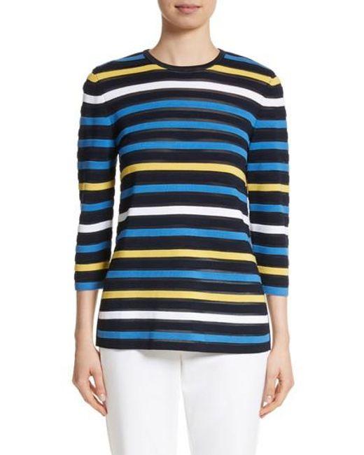 St. John | Blue Ombre Stripe Sweater | Lyst